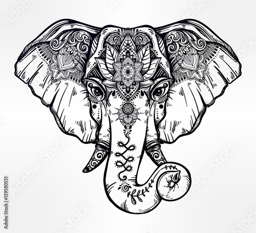 u0026quot decorative elephant with ethnic lotus ornament  u0026quot  stock image and royalty