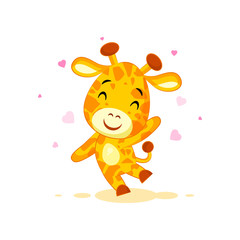Emoji hello hi waving in love hearts you are cute character cartoon Giraffe sticker emoticon