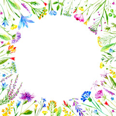 Floral round frame of a wild flowers and herbs on a white background.Buttercup,cornflower,clover,bluebell,forget-me-not,vetch,timothy grass,lobelia,snowdrop flowers.Watercolor hand drawn illustration.