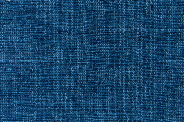 Closeup dark blue yarn textile background and textured, Blue cooton background