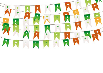 Colorful festive bunting with clover. Irish holiday - Happy St. Patrick's Day