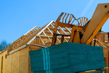 Wood frame of house under construction,