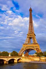 Eiffel tower at sunset Paris France
