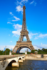 Eiffel Tower in Paris under blue sky France