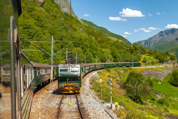 Flambsbana, The Flam Railway, spectacular train journey around mountains. Norway