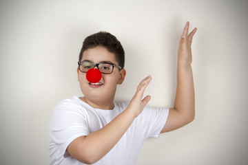 Child With Clown Nose and Glasses