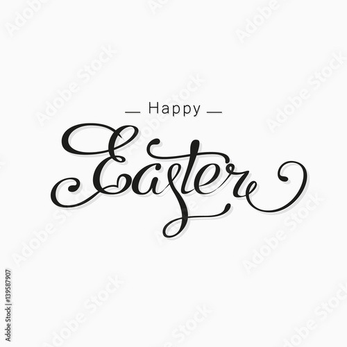 Quot happy easter lettering card hand drawn poster
