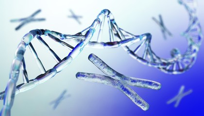 DNA, chromosome, 3d rendering