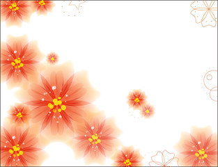 Abstract Spring Background with Flowers. Vector Illustration