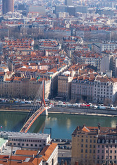 City of Lyon, France, view on old bridge
