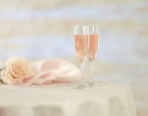 romantic atmosphere, Soft focus photo of Glasses with Champagne,