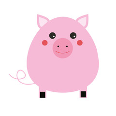 Cute pig cahracter. Children style, isolated design element, vector illustration.