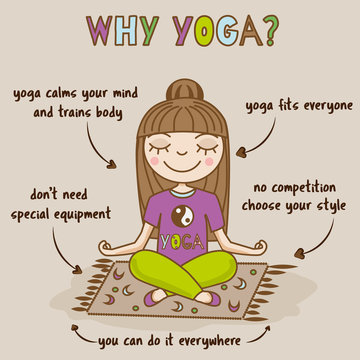 Girl doing yoga. Woman sitting in half lotus pose. Yoga benefits infographic. Hand drawn vector illustration