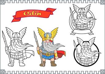 Scandinavian god Odin set of images