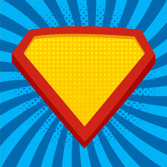 Superhero logo template at bright blue, pop art background. Vector, isolated, eps10