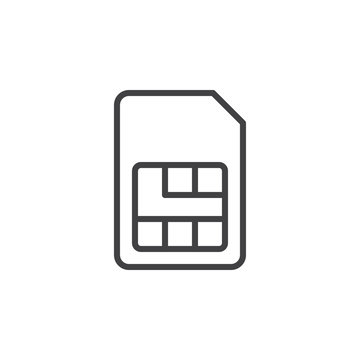Sim card line icon, outline vector sign, linear style pictogram isolated on white. Symbol, logo illustration. Editable stroke. Pixel perfect