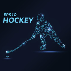 Hockey player consists of points, lines and triangles. The polygon shape in the form of a silhouette of a hockey player on a dark background. Vector illustration. Graphic concept of hockey