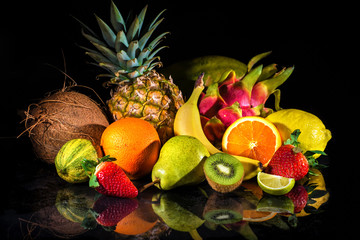 Wall Mural - Fruits with water splash