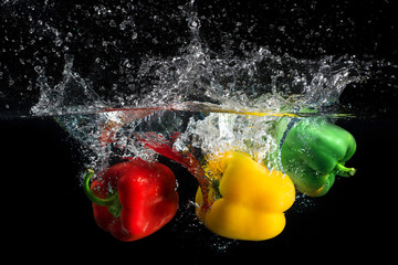 Paprika splash in water