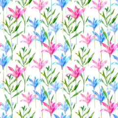 Floral seamless pattern of a pink and blue bell. Snowdrop and herb.Watercolor hand drawn illustration. White background.