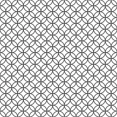 Abstract hand drawn outline retro rossing circles seamless pattern asian style.