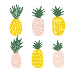 Set of cute pineapples