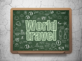 Vacation concept: World Travel on School board background