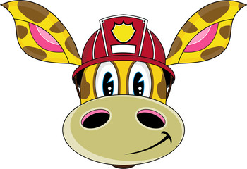Cute Cartoon Giraffe Fireman - Firefighter