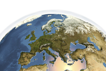Planet Earth from space showing Europe in winter with enhanced bump, 3D illustration, Elements of this image furnished by NASA