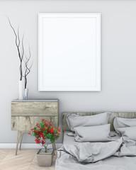 mock up poster frame in light bedroom modern style interior background. 3d viz