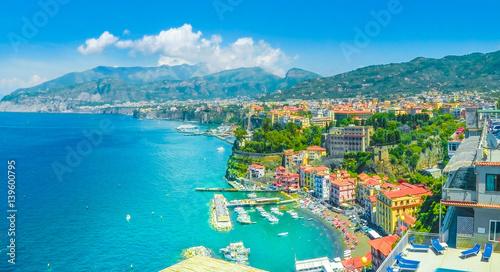 Wall mural Aerial view of  Sorrento city, amalfi coast, Italy