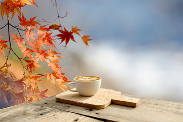 Cup of coffee latte on old bark in autumn with tree maple of colorful leaves in the garden with copy space. Seasonal fall and beautiful relax concept.