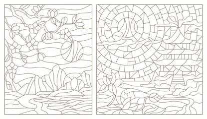 Set contour illustrations of stained glass from the Eastern landscapes