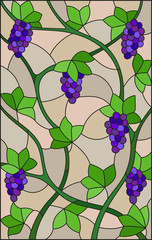 The illustration in stained glass style painting with a bunches of red grapes and leaves on beige background