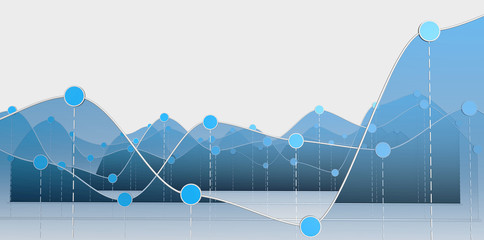 3D illustration of a curve chart or line graph Wall mural