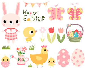 Easter vector set with cute bunny, chicks and hen and design elements for greeting cards, posters, invitations and kids projects