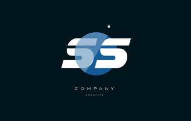 ss s s  blue white circle big font alphabet company letter logo