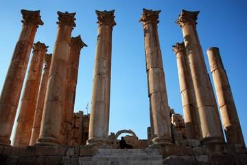 Ancient pillars of the Temple of Artemis in Jerash in Jordan, Middle East