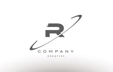 r swoosh grey alphabet letter logo