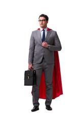 Super hero businessman isolated on white