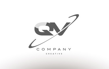 qv q v  swoosh grey alphabet letter logo