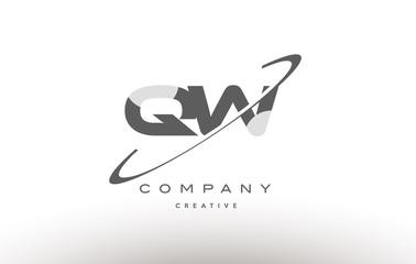 qw q w  swoosh grey alphabet letter logo
