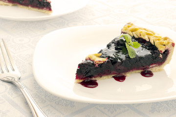 Homemade honeyberry pie in white plate on light cloth napkin