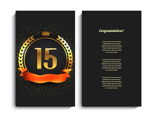 15th anniversary decorated greeting/invitation card template.