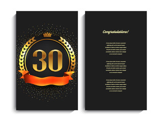 30th anniversary decorated greeting/invitation card template.