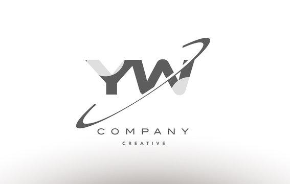 yw y w  swoosh grey alphabet letter logo