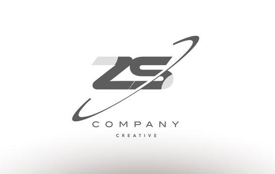 zs z s  swoosh grey alphabet letter logo