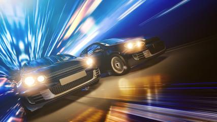 Schnelle Autos bei Nacht in einer Stadt, Kopf-an-Kopf-Rennen
