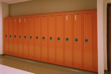 A row of lockers sit quietly in the school hallway