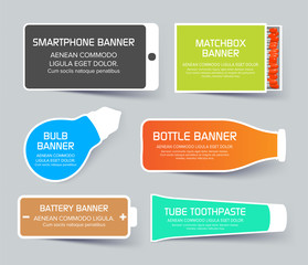 Flat web layout set of colorful banners in different shapes.